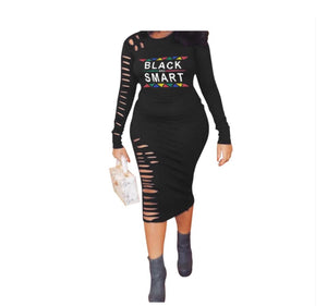 Black Smart Ripped Bodycon Dress