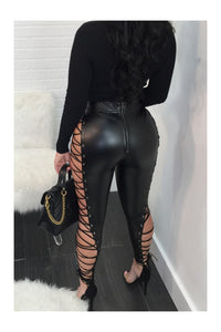 Lace Cake String Up Faux Leather Pants