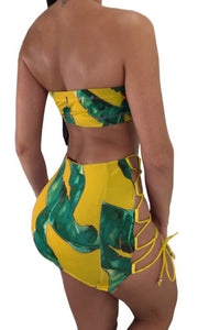 Lily Leaf Sexy Bandeau Two Piece Set