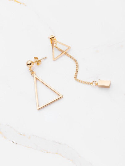 Gold Mismatch Triangle Drop Earrings