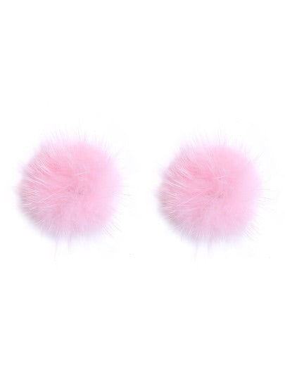 Pink Pom Stud Earrings - NaturaleeChicBoutique