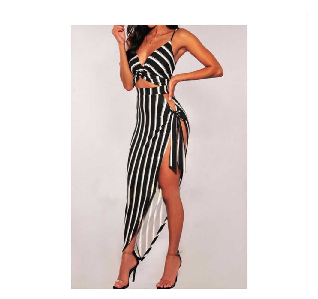 Strip Stripe Bodycon Dress - NaturaleeChicBoutique