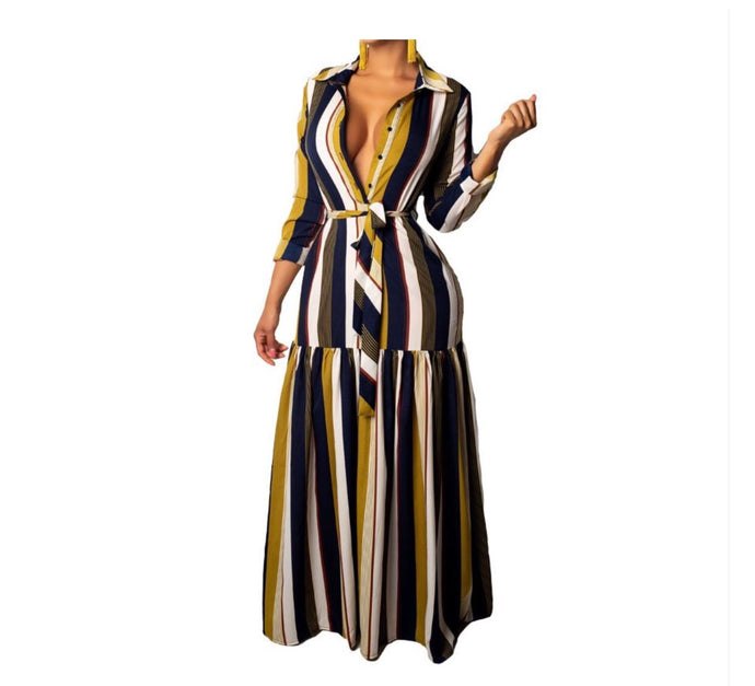 Peggy Pinstripe Maxi Dress