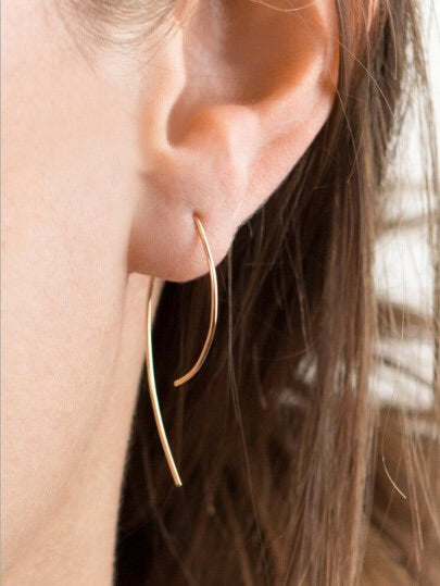 Gold Oval Minimalist Earrings - NaturaleeChicBoutique