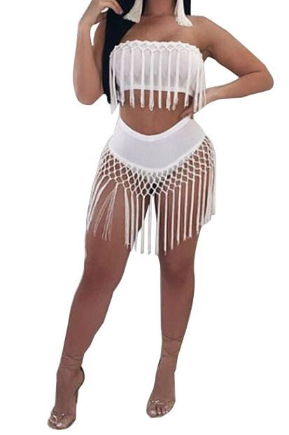 Tease Me Tassel Two Piece Set - NaturaleeChicBoutique