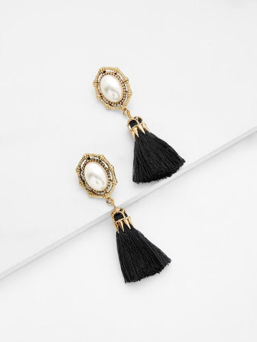 Black Mother Of Pearl Tassel Earrings