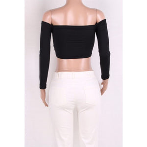 Ruched Long Sleeve Crop Top - NaturaleeChicBoutique