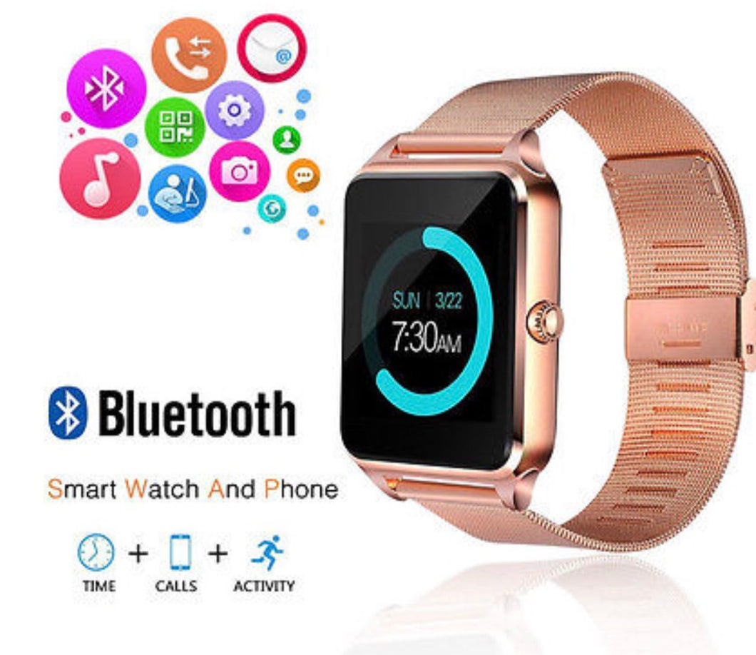 Rose Gold Bluetooth Smart Watch Samsung iPhone Android
