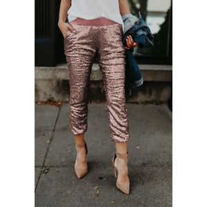 Pink Sequined Jogger Pants - NaturaleeChicBoutique