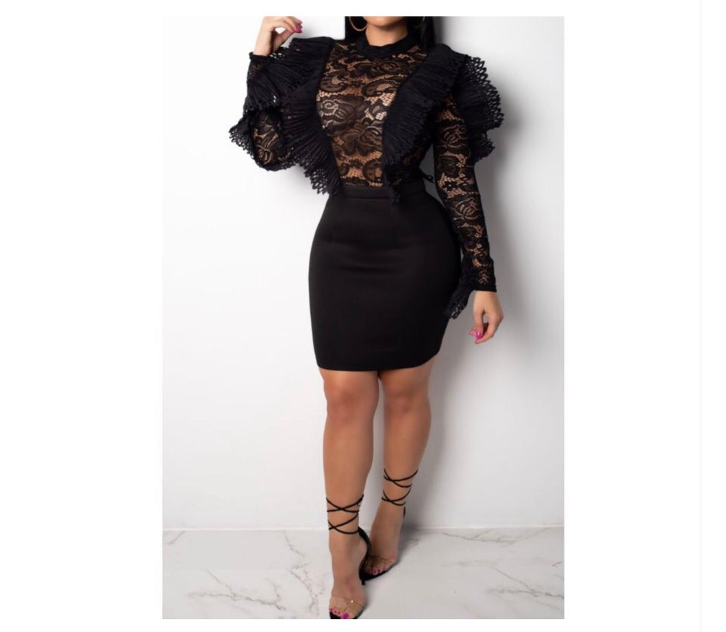 Luxury Lace Black Bodycon Dress - NaturaleeChicBoutique
