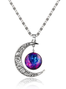 Moon Galaxy Pendant Necklace - NaturaleeChicBoutique