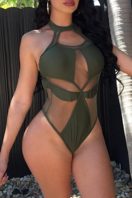 Mesh One Piece Bathing Suit - NaturaleeChicBoutique