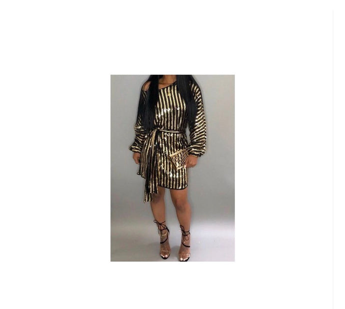 Disco Gold Bodycon Dress - NaturaleeChicBoutique