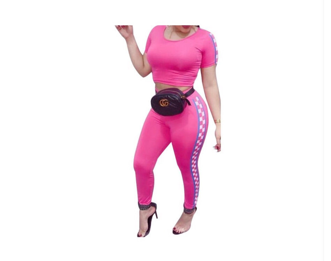 Pink Racer Two Piece Pants Set