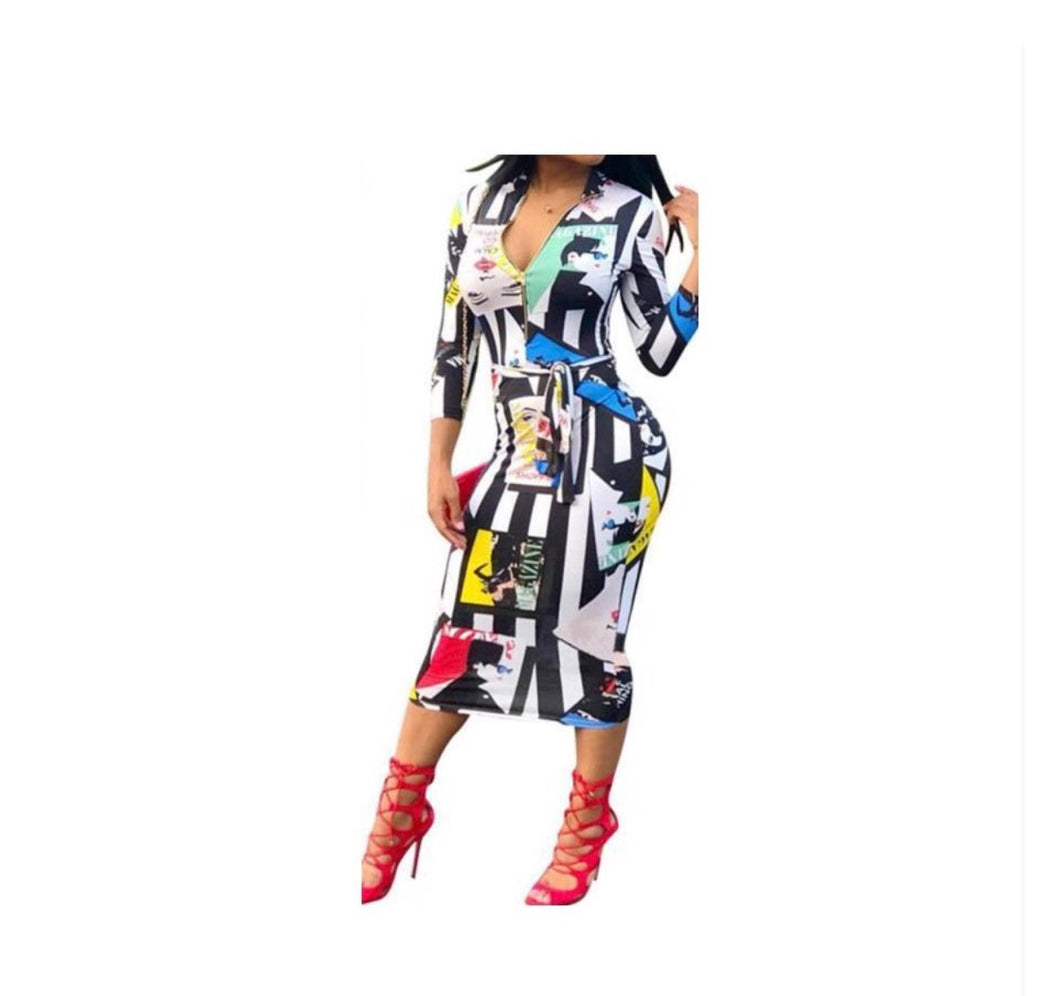 Warhol Bodycon Dress - NaturaleeChicBoutique