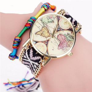 World Map Tribal Minimalist Bracelet and Wrist Watch Set - NaturaleeChicBoutique