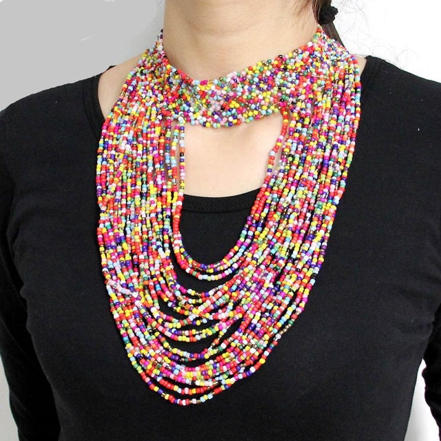 Sabra Beaded Statement Necklace - NaturaleeChicBoutique