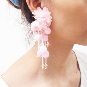 MANILAI Ethnic Style Pom Pom Statement Tassel Earrings Women Bohemia Big Flower Drop Dangle Earrings 2018 Jewelry Long Earing - NaturaleeChicBoutique