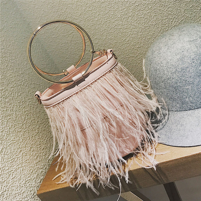Feather Fringe Handbag - NaturaleeChicBoutique