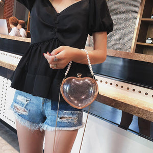 Transparent Jelly Heart Shoulder Bag