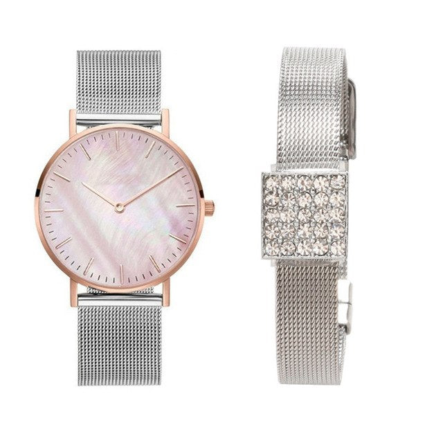 Diamond Charm Minimalist Bracelet and Wrist Watch Set - NaturaleeChicBoutique