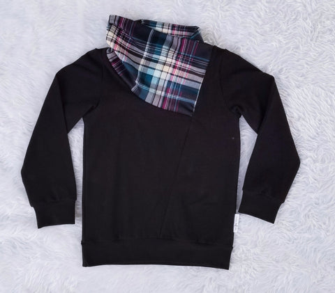 Plaid Scarf Neck Pullover Unisex Sweatshirt Tiny Fox Threads Black Body with Teal and Magenta Plaid Scarf