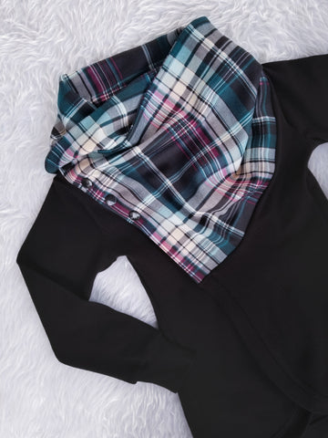 Plaid Scarf Neck Cocoon Cardigan Tiny Fox Threads Black Body with Teal and Magenta Plaid Scarf