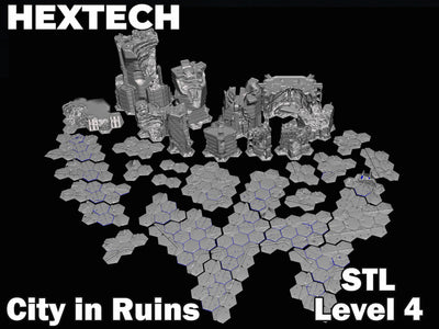 HEXTECH - City in Ruins Level 4 Bundle (STL Download)