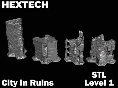 HEXTECH - City in Ruins Level 1 Bundle (STL Download)