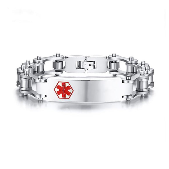Free Engraving Enthralling and Solid Medical Alert ID Bracelet for Men (BR504S)