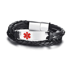 Free Engraving Medical Alert Bracelet with Multi-Layer Braided Leather (BL349M)