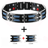 Titanium Magnetic Bracelet with Blue Carbo Fiber for Men (SBRM10220)