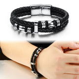 MSC  Stainless Steel Black Braided Multilayer Magnetic Buckle Bracelet Unisex (JC10008)