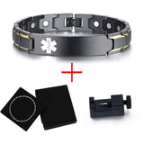 Stylish Bio-Energy Magnetic Therapy Bracelet With Medical Alert ID Function For Men (SBRM125B)