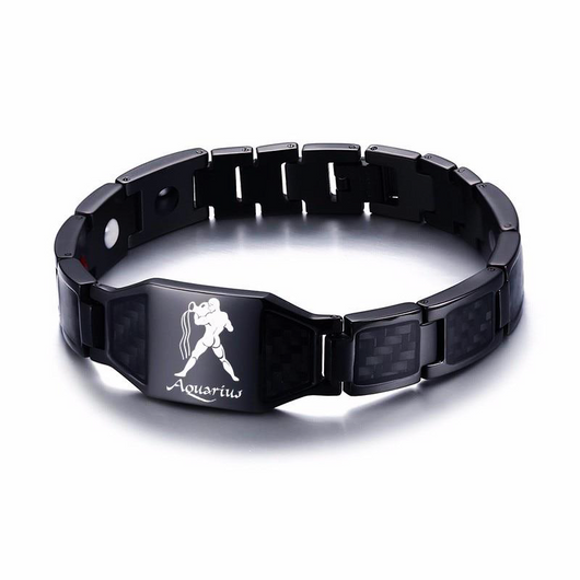 Lustrous Aquarius Zodiac Germanium Magnetic Therapy Bracelet with Hologram Carbon Fiber for Men (SBRM-093B)