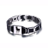 Lustrous Aries Zodiac Germanium Magnetic Therapy Bracelet with Hologram Carbon Fiber for Men (SBRM-093B)