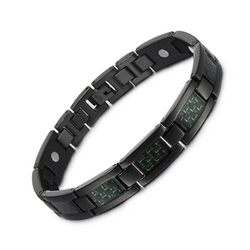 Charm Titanium Carbon Fiber Germanium Magnetic Bracelet for Men (ST069BY-Black Green)