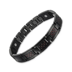 Charm Titanium Carbon Fiber Germanium Magnetic Bracelet for Men (ST069BY-Black Red)