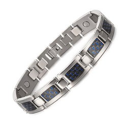 Charm Titanium Carbon Fiber Germanium Magnetic Bracelet for Men (ST081-Blue)