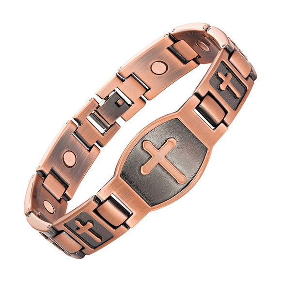 Stylish Magnetic Therapy Bracelet Antique Bronze Cuff Bracelet Cross Pattern (CMBA0199C)
