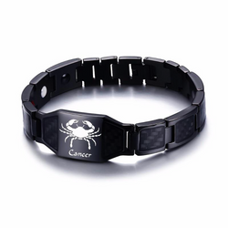 Lustrous Cancer Zodiac Germanium Magnetic Therapy Bracelet with Hologram Carbon Fiber for Men (SBRM-093B)