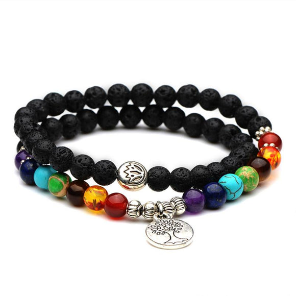 Double layer 7 Chakras Healing Bracelet