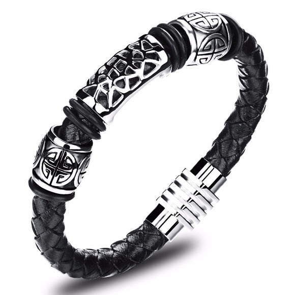 MSC  Stainless Steel Handcrafted Black Braided Magnetic Buckle Bracelet Unisex (JC10952)