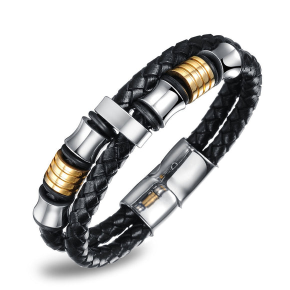 MSC  Stainless Steel Black Braided Multilayer Magnetic Buckle Bracelet Unisex (JC10009)