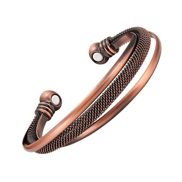 Stylish Antique Bronze Stacked Copper Magnetic Therapy Cuff Bracelet (CMBG0059)