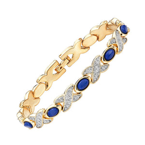 Trendy Magnetic Therapy Bracelet for Ladies 2 Tones Shiny Silver and Gold Color Plating (MBA0088T)