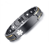 Stylish Bio-Energy Magnetic Therapy Bracelet With Medical Alert ID Function For Men
