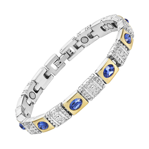 Tantalizing Magnetic Therapy Bracelet for Ladies Shiny Silver and Gold Color Plating (MBA0132T)