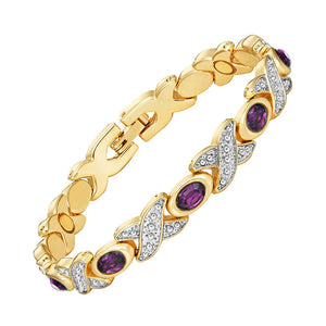 Intriguing Magnetic Therapy Bracelet for Ladies 2 Tones Shiny Silver and Gold Color Plating (MBA0102T)