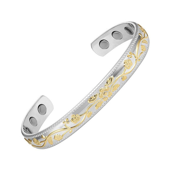 Magnetic Therapy Bracelet Copper 2 Tone Silver and Gold Flower Pattern (CMBG0127)
